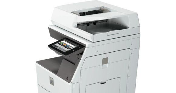 stampante multifunzione sharp MX-B455W - lato e monitor