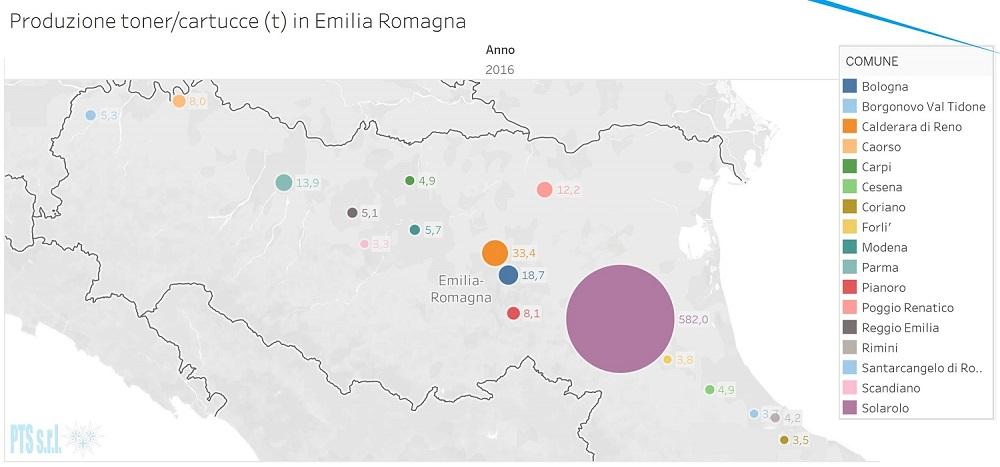 Mappa con le aree di produzione di toner/cartucce esauriti in Emilia Romagna