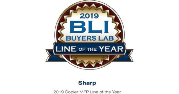 logo del certificato di migliore linea di stampanti multifunzione 2019 della serie sharp mx3051-mx2651