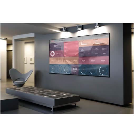 un display pubblicitario Sharp serie PN-Q da 90 pollici all'interno di una sala d'attesa di uno studio professionale