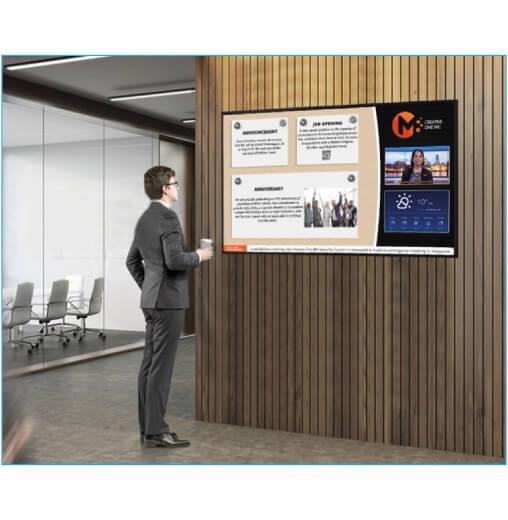 schermo pubblicitario digitale sharp serie PN-R da 60 pollici installato a parete nella sala d'attesa aziendale