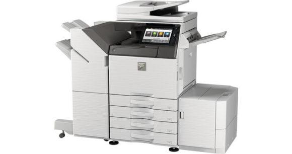 stampante multifunzione sharp mx3051-mx2651 fronte-fianco con cassetti aggiuntivi laterali