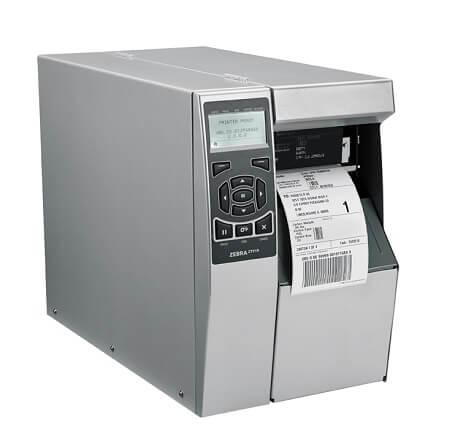 vista di fronte con etichetta in uscita modello zt510 stampante etichette adesive Zebra