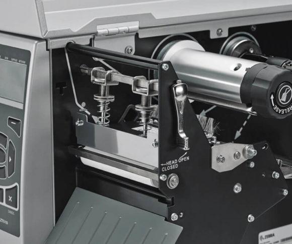 zoom lato aperto di modello zt510 stampante etichette adesive Zebra