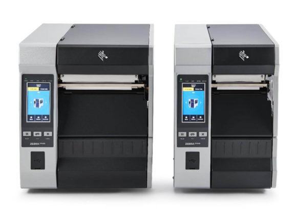 due modelli di stampanti per etichette della serie zt600 di Zebra visti da di fronte