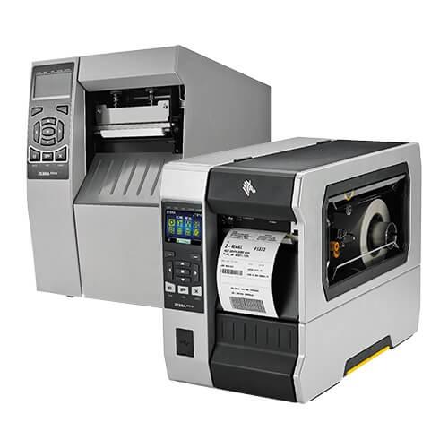 due modelli di colore grigio e nero della serie di stampanti per etichette adesive Zebra zt600