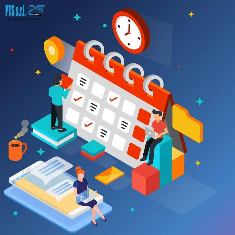 grafica calendario lezioni online e videoconferenze per professori e aziende