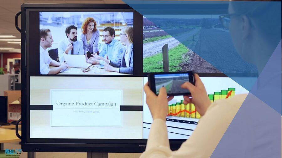 lavagna LIM con 4 dispositivi mobili collegati contemporaneamente che dividono il monitor in 4