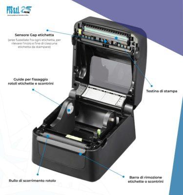 stampante etichette adesive termica diretta aperta con dettaglio componenti meccanici e consumabili interni
