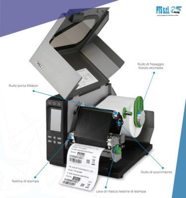 stampante etichette adesive trasferimento termico aperta con dettaglio componenti meccanici e consumabili interni